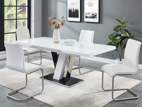 Ensemble Table 4 Chaises Weston Noir Blanc Mobilier De Salon Chaise Cantilever Decoration Maison