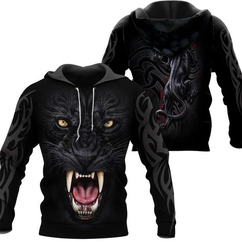 3D Armor Tattoo Black Panther T Shirt For Men and Women NM210902 - Hoodie / M