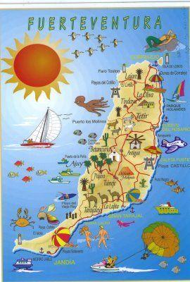 Karte Von Fuerteventura Iles Canaries Fuerteventura