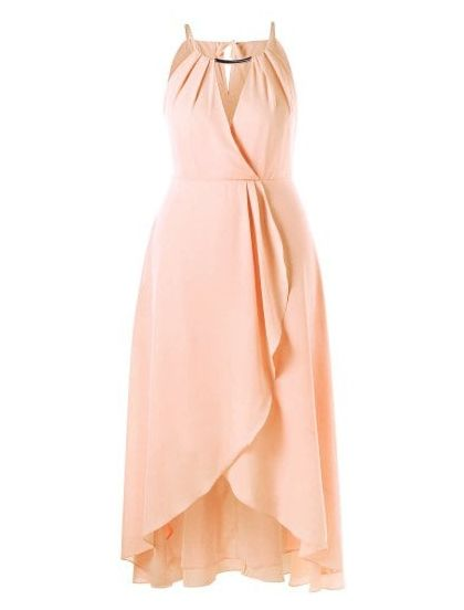Plus Size Cut Out Overlap Flowing Dress (Pinkbeige) | Plus ...