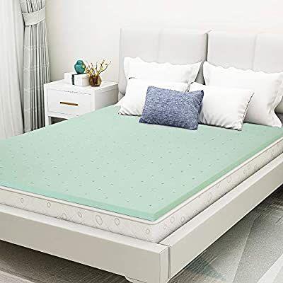 Amazon Com Milemont 1 5 Inch Queen Size Green Tea Memory Foam Mattress Topper Ventilated Design Kitchen Din In 2020 Bed Sizes Foam Mattress Topper Mattress Design