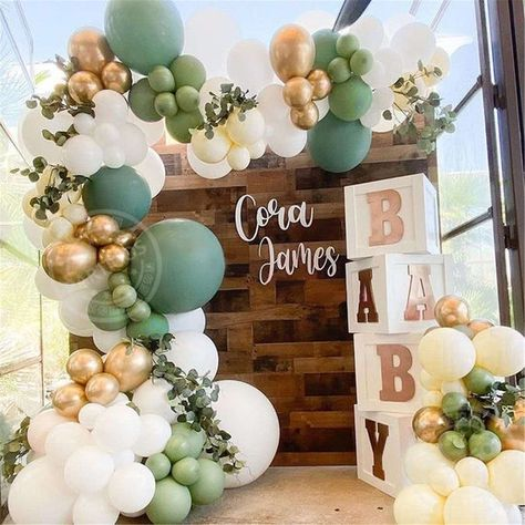 Deco Baby Shower, Baby Shower Backdrop, Baby Shower Themes, Baby Shower Green, Bridal Shower, Baby Shower Signs, Shower Ideas, Baby Shower Garland, Fancy Baby Shower