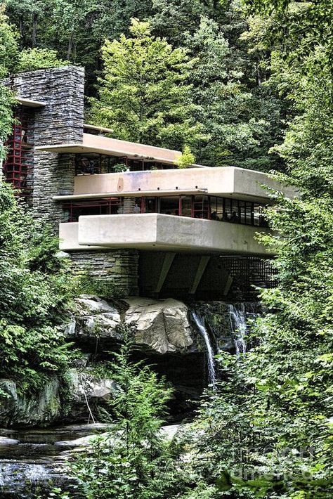 Frank Lloyd Wright Print featuring the photograph Falling Water Vii by Chuck Kuhn