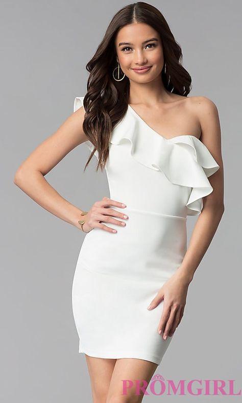 Short Ivory Ruffle-Trim One-Shoulder Party Dress