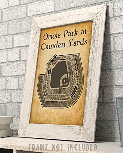 Oriole Park At Camden Yards Baseball Seating Chart 11x14 Unframed Art Print Great Sports Bar Decor And Gift For Bas Sports Bar Decor Unframed Art Bar Decor