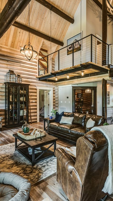Modern Farmhouse Living Room - This Tennessee log home has major modern farmhouse style. Tour the stylishly rustic home here. Modern Cabin Interior, Modern Rustic Homes, Rustic Home Design, Cabin Design, Modern Farmhouse Style, Rustic Style, Modern Cabin Decor, Rustic Houses, Modern Rustic Interiors