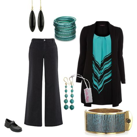 """Plus Size Black and Teal"" by intcon on Polyvore"
