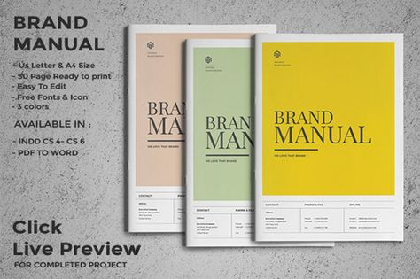 Brand Manual by fahmie on @creativemarket Graphics, Logos - manual templates