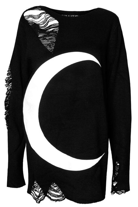 LUNA. Childe of the Night! EXXXTRA-Distressed & Oversized Grunge Sweater! - Distress Grunge Knit.- Crew Neck.- Long Length.- Printed.- UNISEX Fit. Soft &am