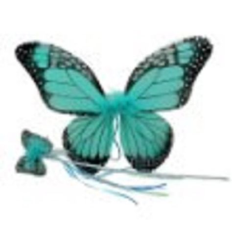 Girls Monarch Butterfly Wings & Wand Set (Turquoise, One Size)