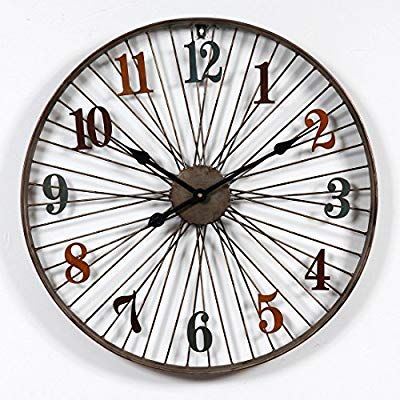 Phynedi Horloge Pendule Murale Design Vintage Diamètre 60 Cm