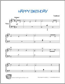 Happy Birthday Free Beginner Piano Sheet Music Makingmusicfun