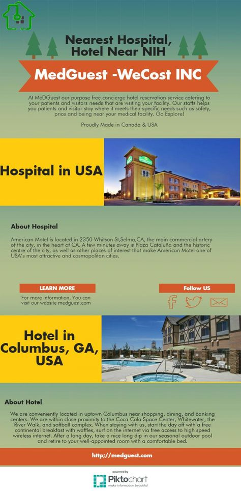 Nearest Hospital Hotel Near Nih Medguest Infographic Hotels The In Usa Pinterest Find And