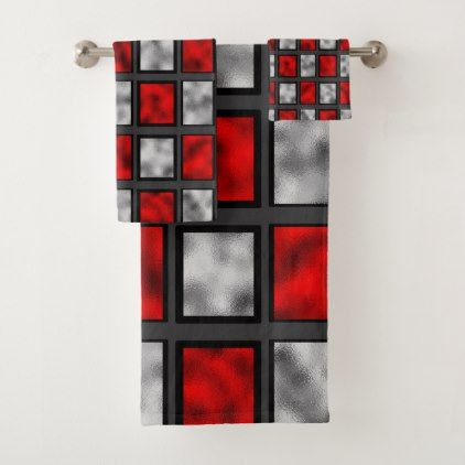 Red Gray Tiles Bath Towel Set Home Gifts Ideas Decor Special