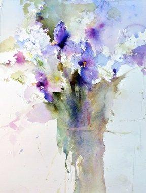 Version 3 Aquarelle Abstraite Fleurs Abstraites Peinture Fleurs