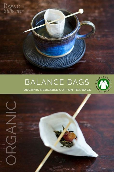 Bags: Organic reusable tea bags Zero waste reusable tea bags made from organic cotton with a bamboo balance stick.Zero waste reusable tea bags made from organic cotton with a bamboo balance stick. Produce Bags, Tea Packaging, Food Waste, Drops Design, Zero Waste, Bag Making, Tea Time, Tea Party, Organic Cotton