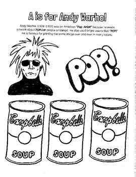 A Is For Andy Warhol Coloring Sheet Andy Warhol Warhol Kindergarten Art Lessons
