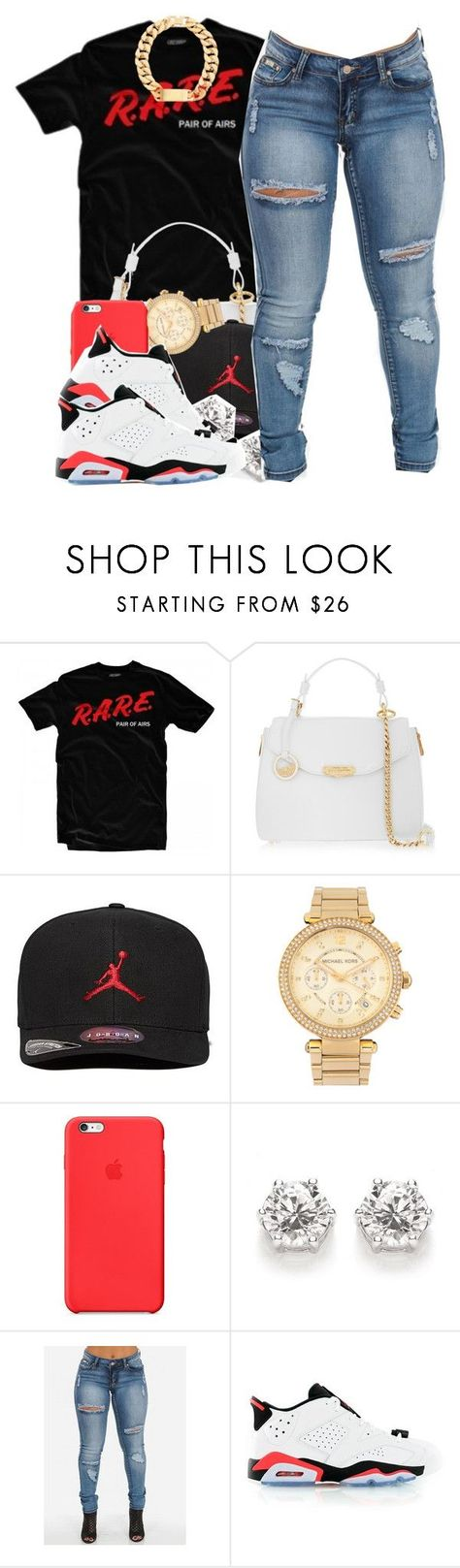 """""""New Year, Same Style"""" by polyvoreitems5 ❤ liked on Polyvore featuring Versace, Jordan Brand, Michael Kors, Apple and Retrò"""