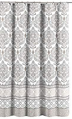 Amazon Com Grey Taupe White Canvas Fabric Shower Curtain Floral Damask With Geometric Border Design Floral Damask Fabric Shower Curtains Chic Bathroom Decor