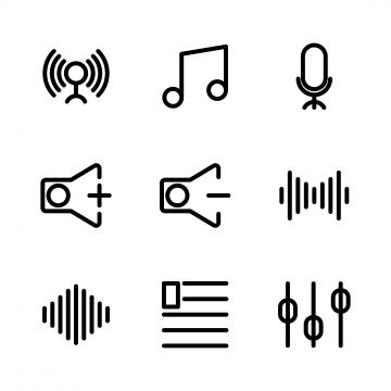 Music And Multimedia Icon Set Outline Include Circle Music Start Play Signal Phase Connecting Tone Tone Rhythm Speak Microphone Audio Volume Sound Volume Up Vol Waves Icon Icon Set Music Icon