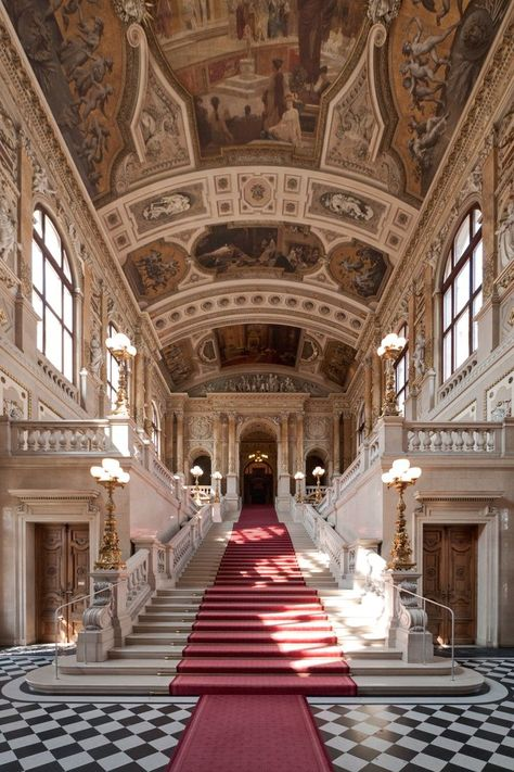 """""""Without the stairs of the past, you cannot arrive at the future."""" -Mehmet Murat ildan (📷: Staircase at Hofburg Palace in Vienna, Austria). Architecture Baroque, Architecture Cool, Ancient Architecture, Landscape Architecture, Architecture Interiors, Beautiful Buildings, Beautiful Places, Modern Buildings, Le Palais"""