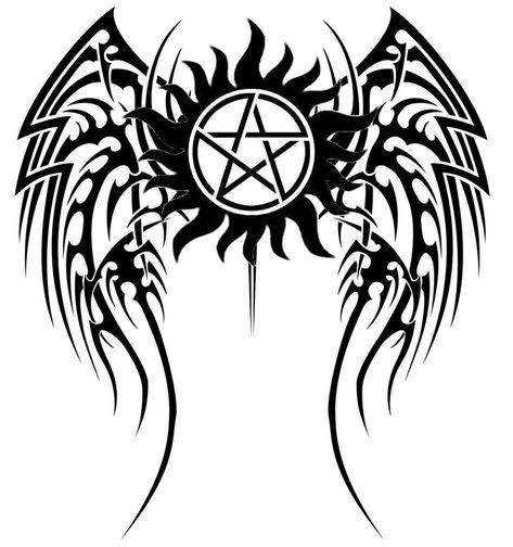 SPN Tattoo Tibal Wings by scyllaya