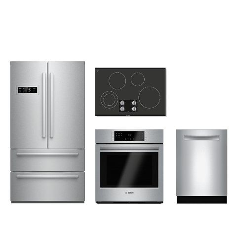 bosch kitchen sink 4 piece package stainless steel with a built in dishwasher counter depth french door refrigerator electric single oven and