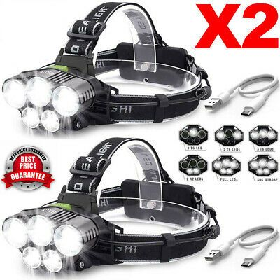 90000LM 5X T6 LED Headlamp Rechargeable Headlight 18650 Flashlight Head Torch