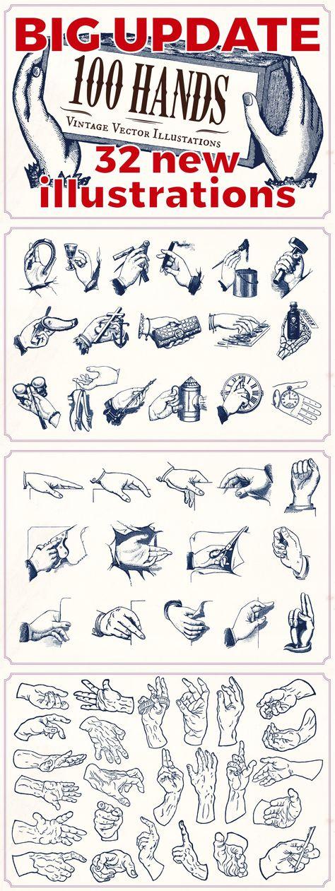 Vintage Hand Illustrations by Mr Vintage on @creativemarket