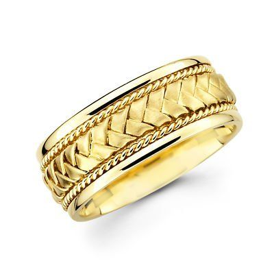 14k Solid Yellow Gold Plain fort Wedding Band Ring 5MM Size 8