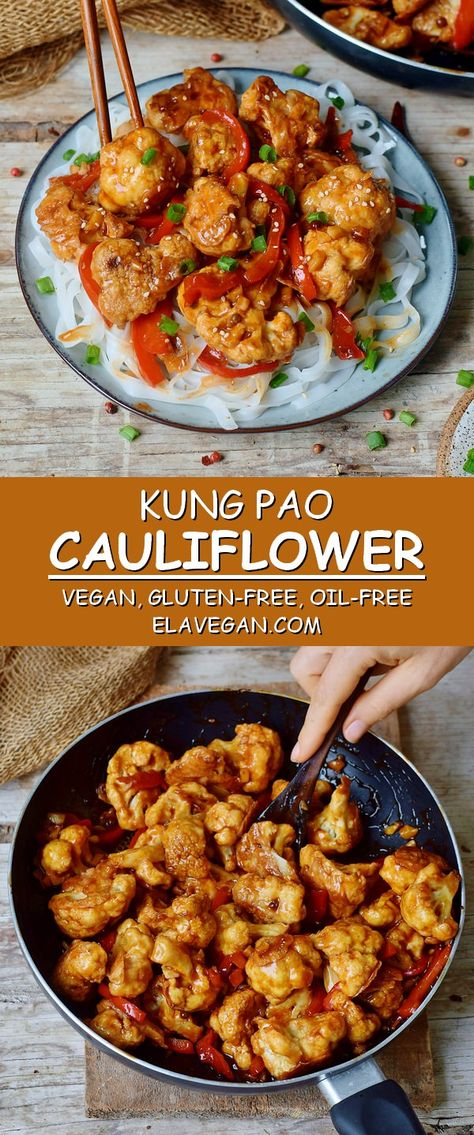This Kung Pao Cauliflower is a delicious stir-fry which is spicy, hearty, satisfying, and comforting. It's a great meat-free Chinese takeout alternative to Kung Pao Chicken! The Kung Pao sauce has the perfect combination of spicy, salty and sweet flavors which will make your mouth water. The recipe is vegan, gluten-free, low in fat and calories, and can be made oil-free! #kungpao #kungpaocauliflower #veganstirfry #spicydinner #glutenfreevegan #elasrecipes | elavegan.com