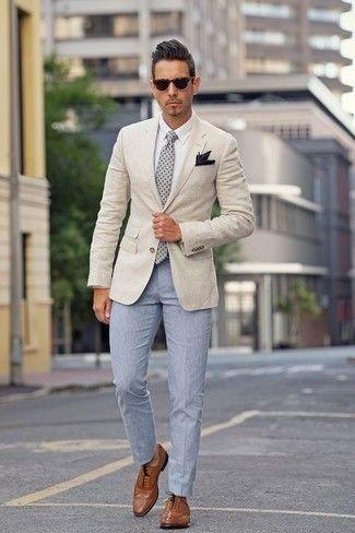 Men S Beige Blazer White Dress Shirt Light Blue Dress Pants