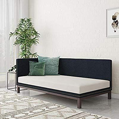 Amazon Com Dhp Dale Upholstered Daybed Sofa Bed Frame Twin Size Blue Linen Kitchen Dining Sofa Bed Frame