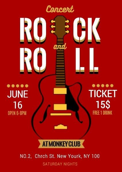 Want To Make A Online Rock And Roll Concert Poster Fotor Has Many Templates To Wait For You Rock Roll Concert Poster Design Maker Concert Posters Flyer
