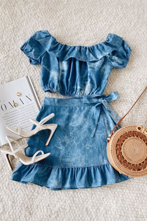 The perfect denim set! Lulus  Soaking Up Sunshine Blue Tie-Dye Chambray Two-Piece Mini Dress features a cute crop top and wrap skirt in a cute tie-dye wash. #lovelulus