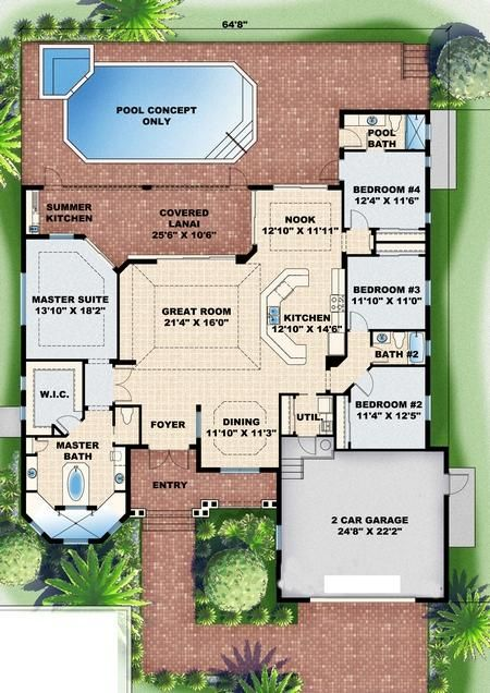 House plans on pinterest floor plans house plans and for Split master bedroom floor plans