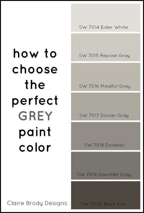 How To Choose the Perfect Grey Paint Color: 1. Look at undertones. Looking at the color strip will show you that strip's undertone. The bottom color is