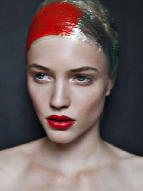 red lips | red square | cling wrap | model | collarbone | beauty | fashion…