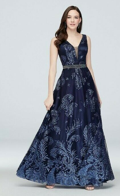 Davids Bridal Navy Glitter Prom Gown With Belt And Deep V