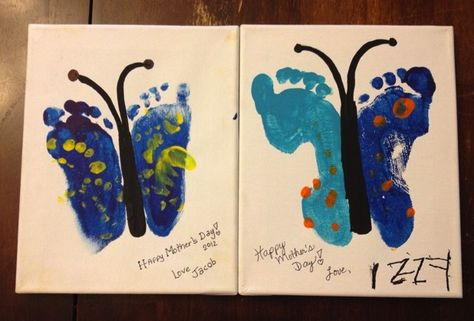 Great art idea! Boober loves seeing his footprints right now!
