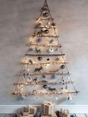 Home Dzine Craft Ideas Make A Wall Mounted Christmas Tree With Led Fairy Lights Creative Christmas Trees Minimalist Christmas Wall Christmas Tree