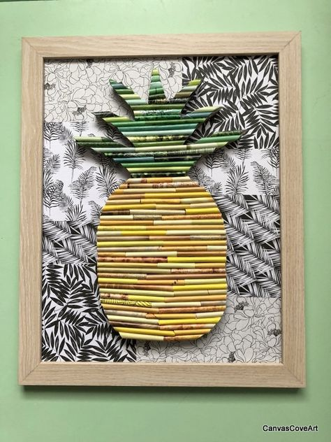 Pineapple Paper Collage in an 12 x 16 Natural Wood Frame made from magazine pages on a Tropical background Room Decor Wall Art Dorm Decor by CanvasCoveArt on Etsy Pineapple paper collage in a Natural Wood 12