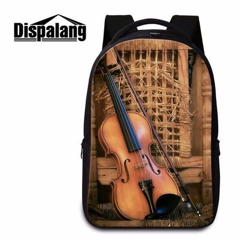 Dispalang Fashion Women Laptop Backpack Violin Ballet Prints