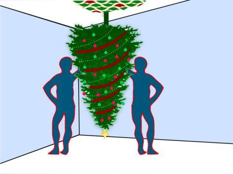 How to hang a Christmas tree upside down.