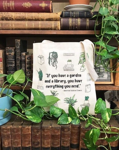Tote Bag: Library Garden | Tote-ally Cute in 2019 | Books