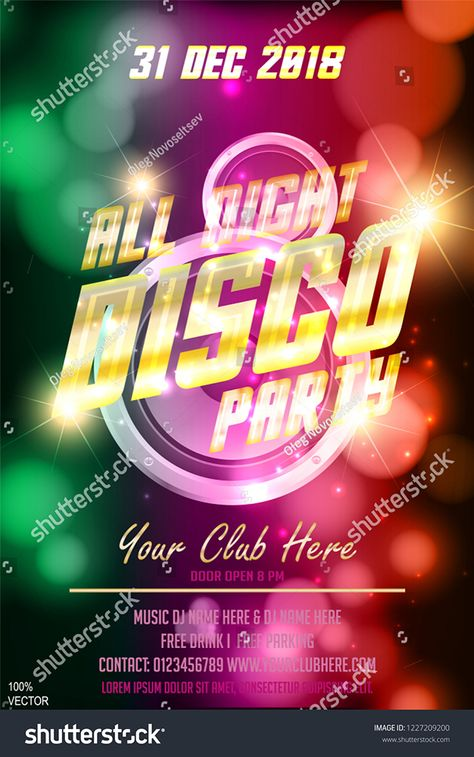 Abstract all night disco vector party festival presentation template