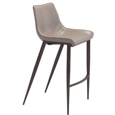 Orren Ellis Kinkade Bar Chair Grey Brushed Stainless Steel Set