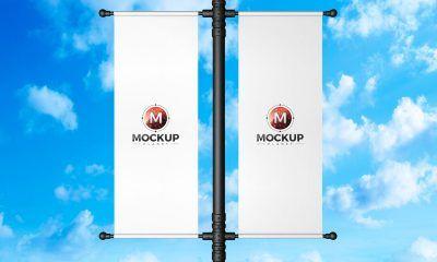 Free Lamp Post Banner Mockup Design Mockup Tshirt Mockup Mockup Psd