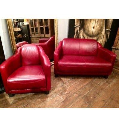 Canape Style Club Anglais 2 Places London En Cuir Rouge Vintage Decoration Maison Meuble Original Canape Cuir