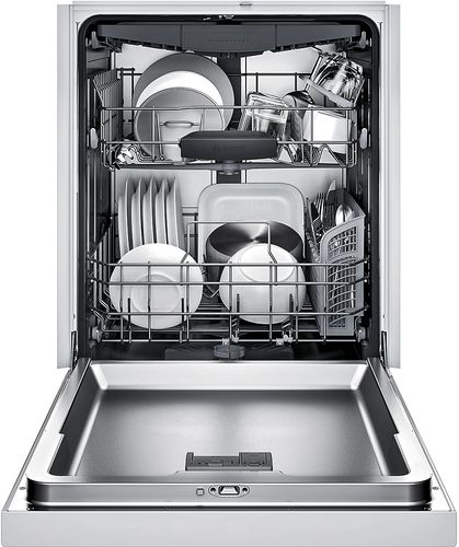 Bosch 300 Series 24 Recessed Handle Dishwasher With Stainless Steel Tub White Shem63w52n Best Buy Steel Tub Integrated Dishwasher Fully Integrated Dishwasher